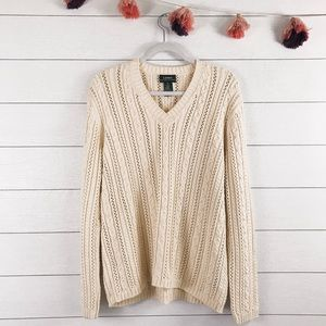 LRL   Vintage Cream Chunky Cable Knit Sweater